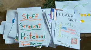 The children showed their thanks by giving Sargent Pritchard handmade cards and letters.